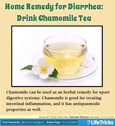 home remedy for diarrhea drink chamomile tea lifetricks