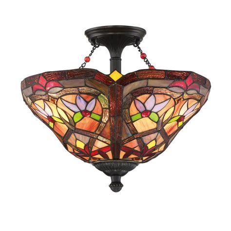 tiffany style flush mount ceiling light shop portfolio 16 in w bronze opalescent glass tiffany