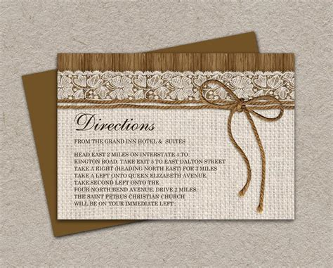 diy wedding direction cards template 2 to a page diy printable rustic wedding direction cards enclosure