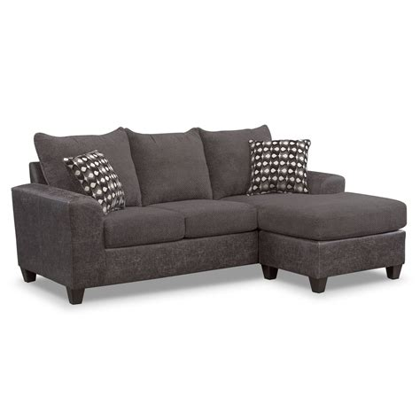 sofa 3 lugares chaise brando sofa with chaise smoke american signature furniture
