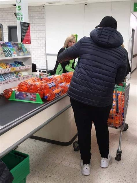 asda shoppers call  man bulk buying  mock whats   trolley mirror