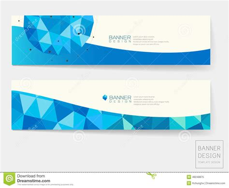 design elements banner banner design with geometric blue crystal elements stock