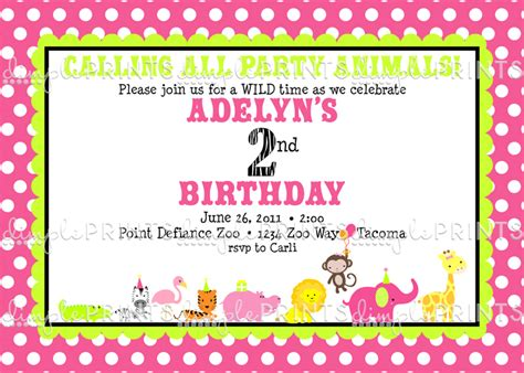 printable zoo animal invitations girl animal zoo parade printable invitation dimple