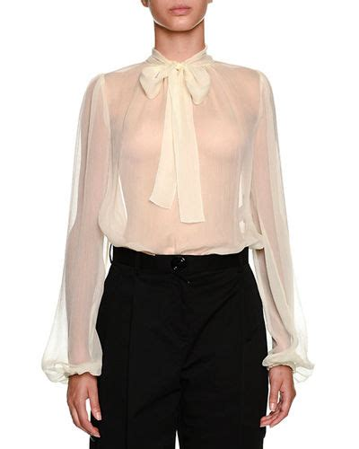 Bow Sleeve Chiffon Top sheer chiffon top neiman