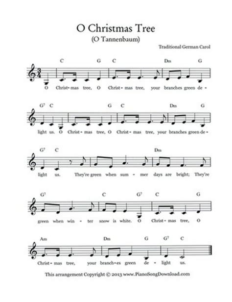 o christmas tree variation pdf sheet music o tree o tannenbaum free lead sheet with melody chords and lyrics