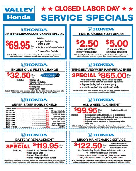 Honda Service Coupons by Service Specials Coupons Valley Honda Il