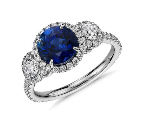 Black Sapphire 6 8 Ct 2 ct tw sapphire and cubic zirconia 14k white gold
