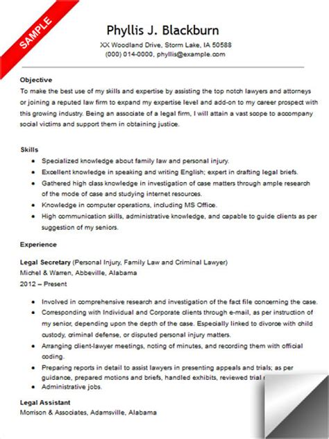 legal secretary resume sle