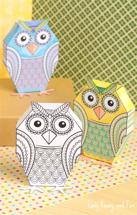 Toys With Paper - owl paper toys paper to color easy peasy and