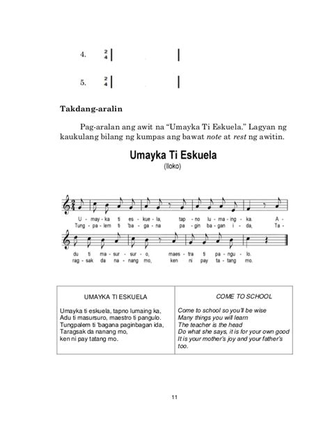 pattern baby lyrics k to 12 grade 4 learner s material in music q1 q4