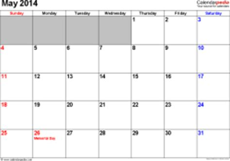may 2014 calendars for word, excel & pdf