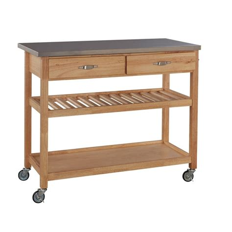 kitchen island cart stainless steel top home styles stainless steel top kitchen cart the home