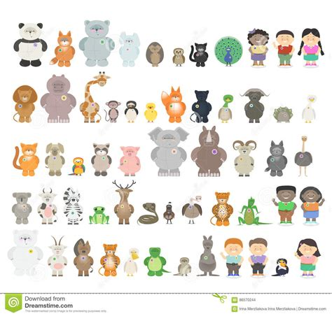 Big Set Of 7 big set of different animals zoo animals from different