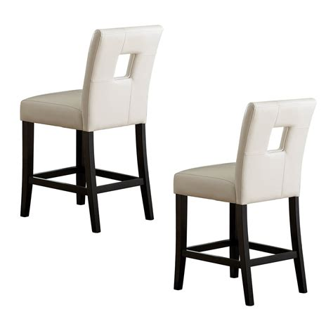 Furniture Square White Leather Bar Stools With Back Having Black Wooden Legs And Footrest In | square white leather bar stool having back with square