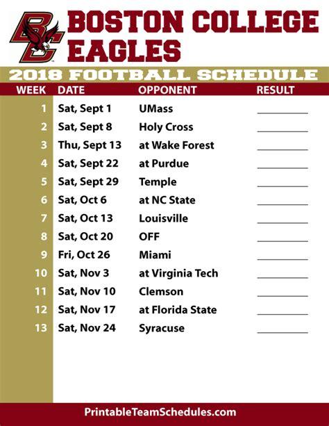 printable schedule college football 2018 printable boston college football schedule