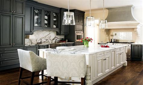 Damask Stools Charcoal Gray Kitchen Cabinets White Island