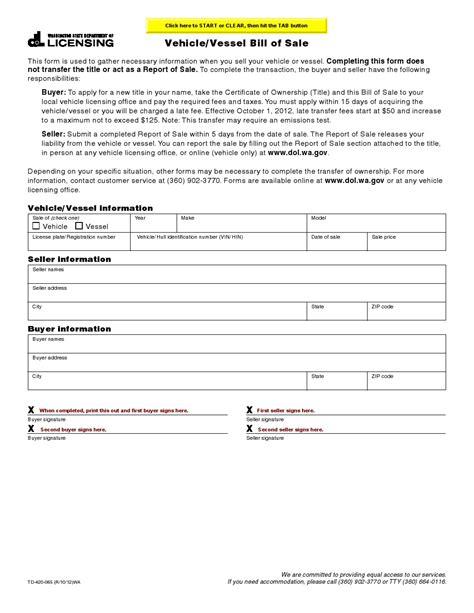 wa state boat registration numbers free washington vehicle vessel bill of sale form