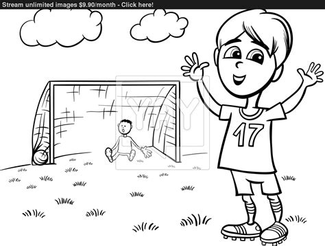 boy playing coloring page boy playing soccer coloring page vector yayimages com