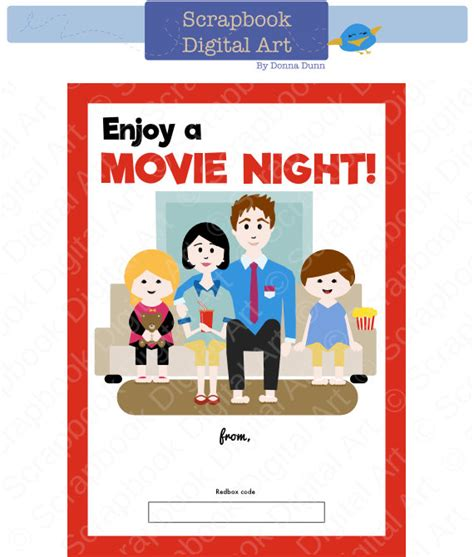 printable movie gift cards printable family movie night redbox gift card tag