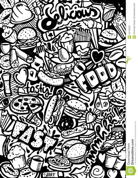 fast doodlebug fast food doodle stock illustration image 42746223