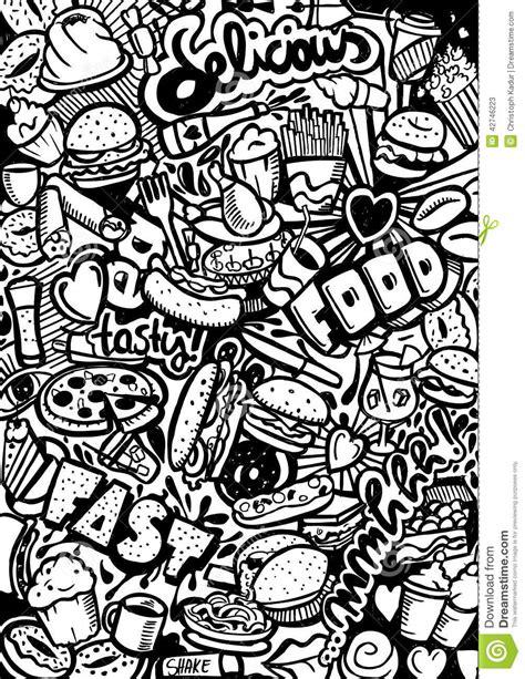 doodle black pen fast food doodle stock illustration image 42746223