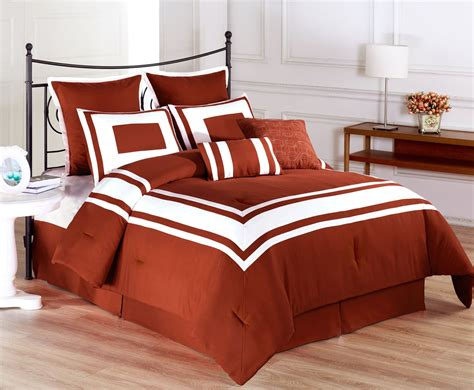 8 piece lux dcor burnt orange comforter set