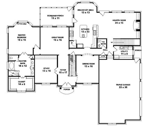 653616 2 story french style floor plan with 5 bedrooms