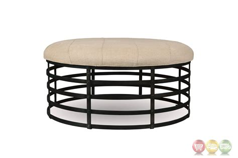 metal ottoman echo park oval ottoman with metal base and beige