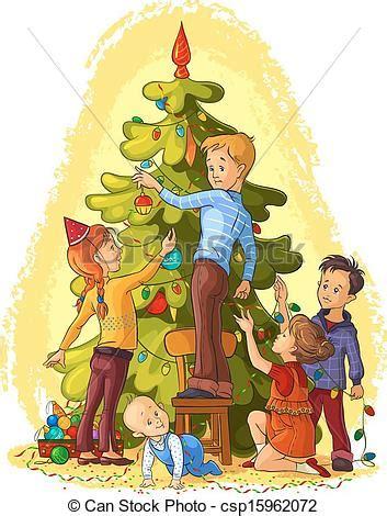 kids decorating  christmas tree vector art holiday