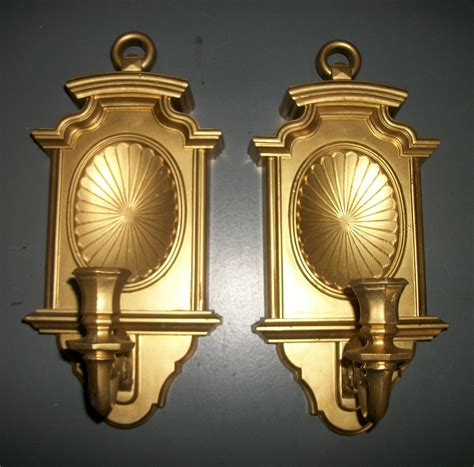 Gold Wall Sconce Candle Holder Pair Of Gold Homco Wall Candle Sconces