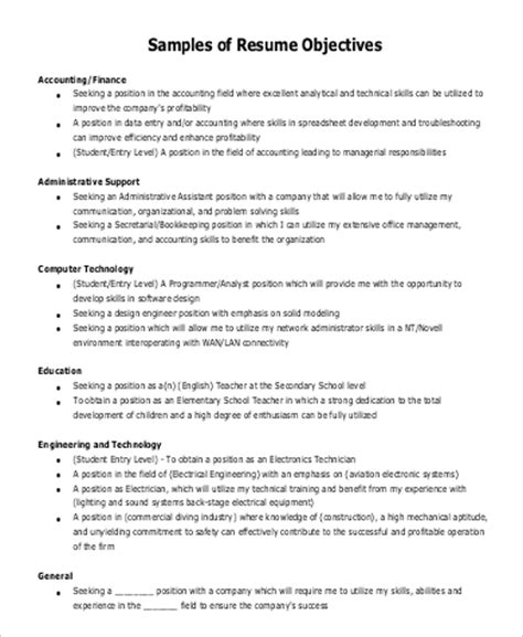 General Objectives For Resumes by 7 Sle General Objectives For Resume Sle Templates