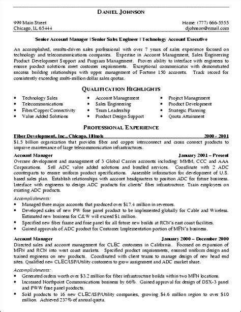 free sles of resumes it sales engineer resume exle resume exles