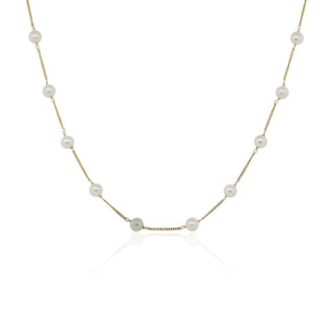 Cup Necklace 14k yellow gold pearl tin cup necklace