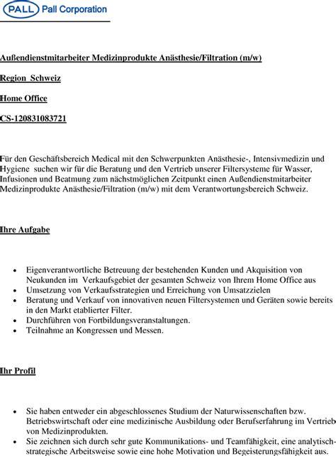 Bewerbungsschreiben Assistenzarzt Orthopädie Stellenangebot Au 223 Endienstmitarbeiter M W Medizinprodukte An 228 Sthesie Filtration Schweiz In