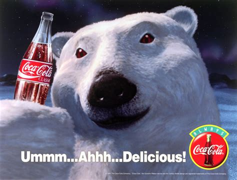 Polar Bear Coke Meme - coca cola polar bear quot ummm ahhh delicious quot 1993