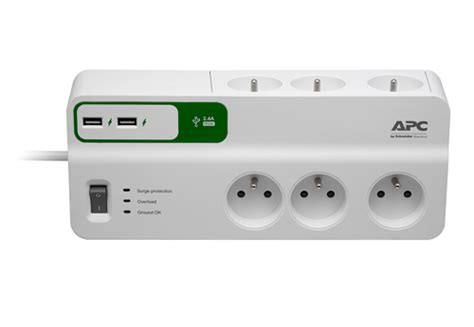 Apc Essential Surgearrest 230v With 2 Usb Charger Port 5v 2 4a apc essential surgearrest 6 outlets with 5v 2 4a 2 port usb charger 230v