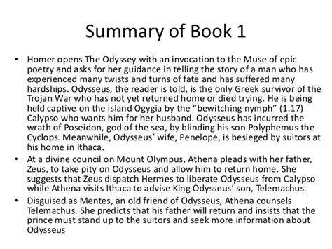summaries of the odyssey