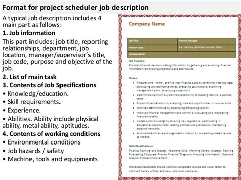 project scheduler description