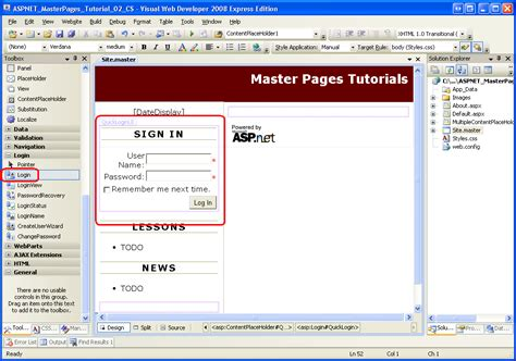 asp net tutorial 8 create a login website creating master multiple contentplaceholders and default content vb
