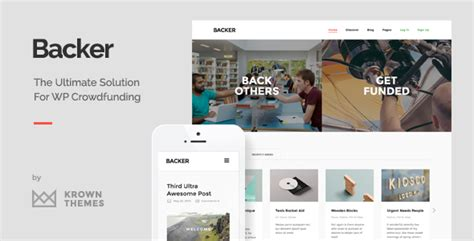 Backer The Modern Wordpress Crowdfunding Theme By Krownthemes Themeforest Crowdfunding Template Free