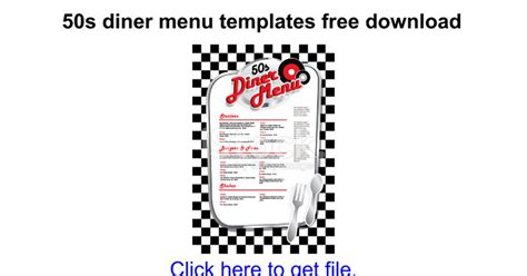 50s Diner Menu Templates Free Download Google Docs 50s Diner Menu Templates Free
