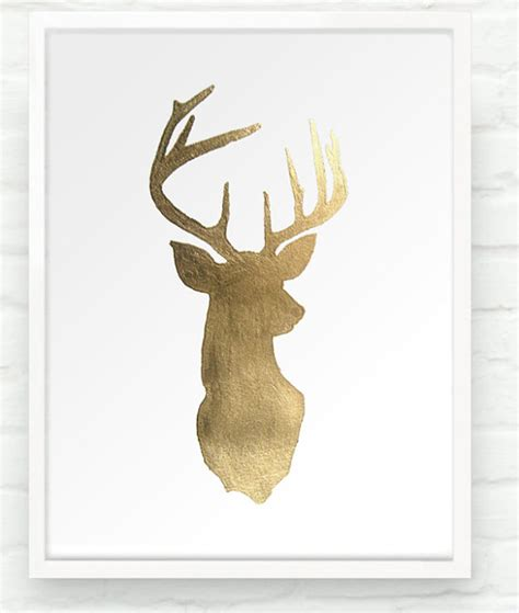 Nursery Animal Heads by Items Similar To Deer Oh Deer In Metallic Gold 8x10 Hand