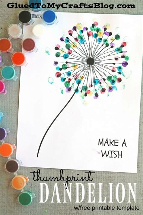 easy printable art projects thumbprint dandelion kid craft w free printable