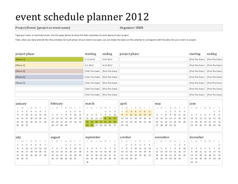 wedding project plan template template event schedule planner 2012