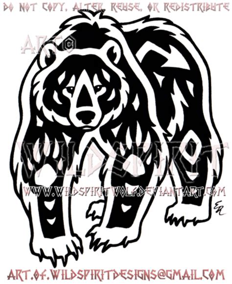 navajo grizzly bear tribal design by wildspiritwolf on