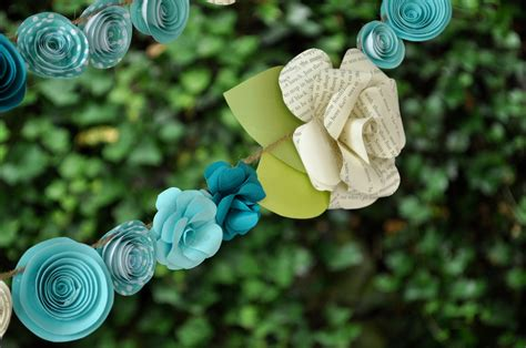 Make Paper Flower Garland - wedding garland paper flower garland teal and white flowers 9