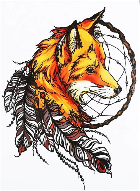 brigth orange native fox head with dream catcher and