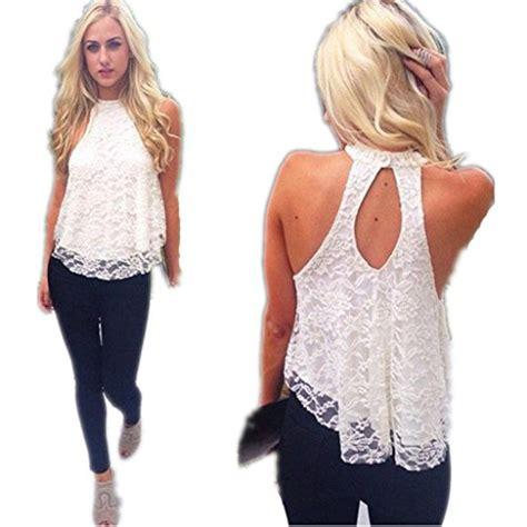 Blouse Fadim Jumbo White shirts blouses toraway summer sleeveless lace vest blouse shirt tops large white was