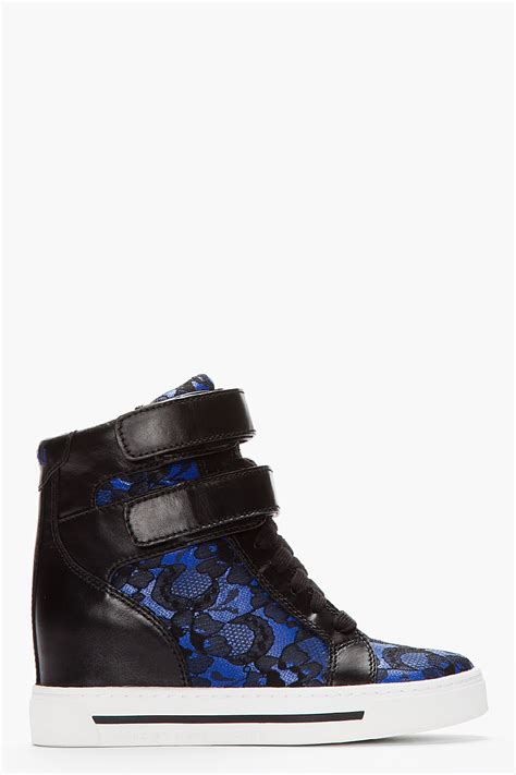 sneaker wedges blue marc by marc royal blue lace sneaker wedge in blue