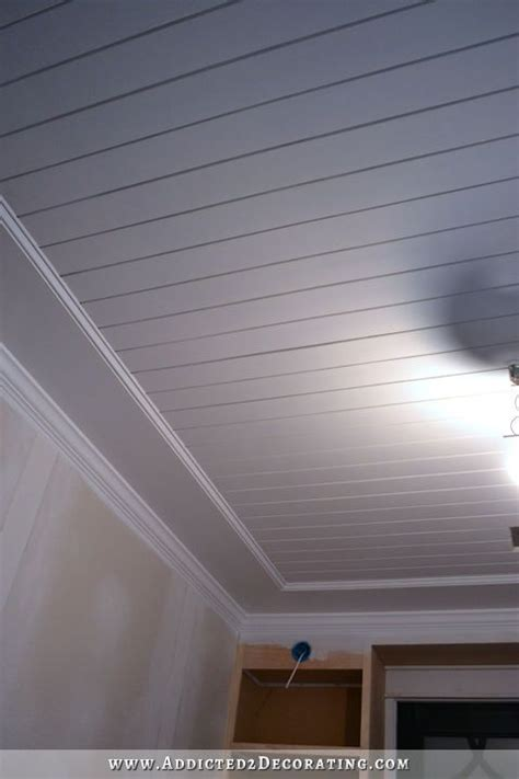 Acoustic Ceiling Planks My Finished Room Ceiling Painted Wood Plank Ceiling